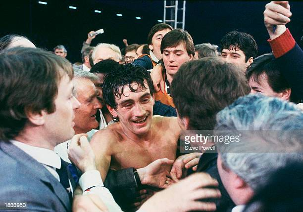 Barry McGuigan of Northern Ireland celebrates after beating WBA Champion Eusebio Pedroza of Panama at Loftus Road StadiumLondon on the 8th of June...
