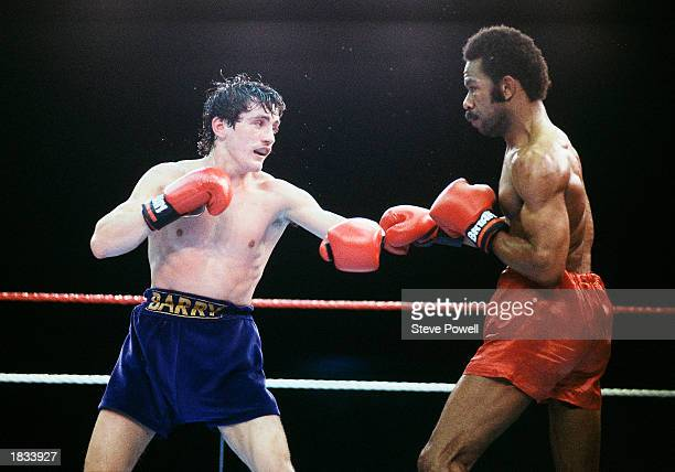 Barry McGuigan of Northern Ireland in action against WBA Champion Eusebio Pedroza of Panama at Loftus Road StadiumLondon on the 8th of June 1985...