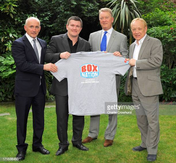 Barry McGuigan Ricky Hatton Frank Warren and Frank Maloney with a Boxnation tshirt during the Boxnation Press Conference on June 26 2013 in London...