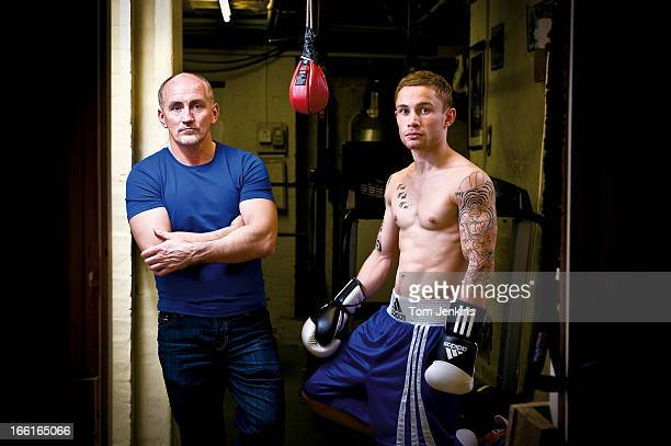 Barry McGuigan the former World featherweight champion who now manages and trains Carl Frampton a superbantamweight fighter from Belfast pose for a...