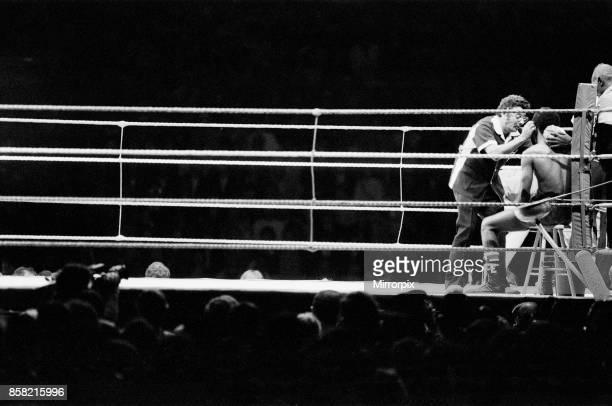 Barry McGuigan vs Eusebio Pedroza at Queens Park Rangers football stadium Loftus Road London McGuigan defeated WBA World Champion Eusebio Pedroza by...