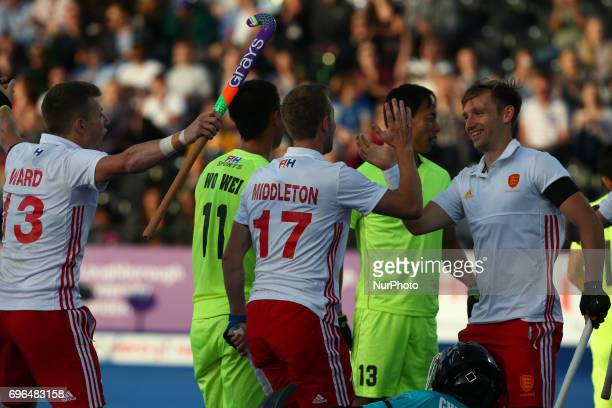 Barry Middleton of England celebrate his goal during The Men's Hockey World League 2017 Group A match between England and Chinaat The Lee Valley...