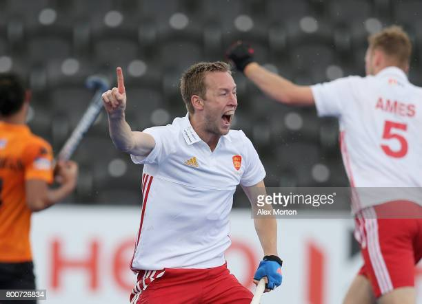 Barry Middleton of England celebrates Englands second goal during the 3rd/4th place match between Malaysia and England on day nine of the Hero Hockey...