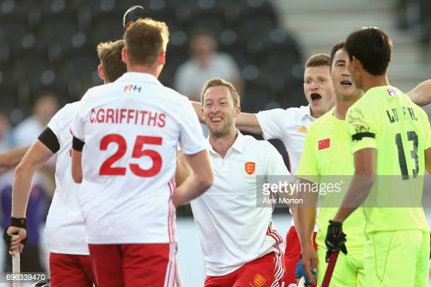 Barry Middleton of England celebrates scoring his sides first goal with his England team mates during the Hero Hockey World League Semi Final match...
