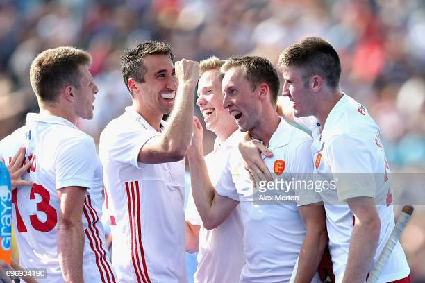 Barry Middleton of England celebrates scoring the fourth goal for England during the Hero Hockey World League Semi Final match between England and...