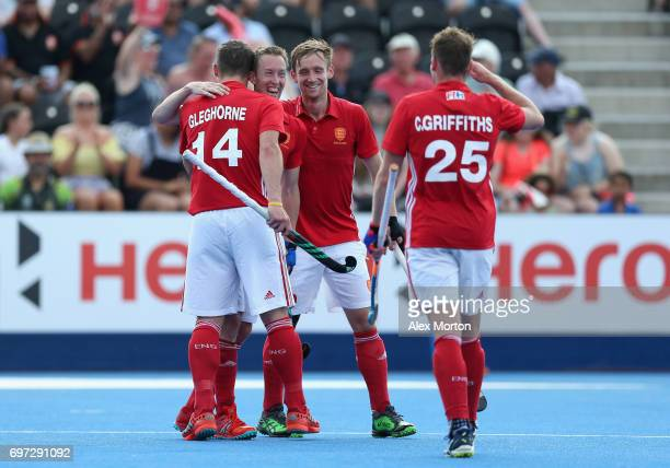 Barry Middleton of England celebrates scoring the third goal for England during the Hero Hockey World League Semi Final match between England and...