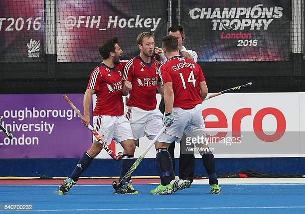 Barry Middleton of Great Britain celebrates scoring their first goal during the FIH Mens Hero Hockey Champions Trophy match between Great Britain and...