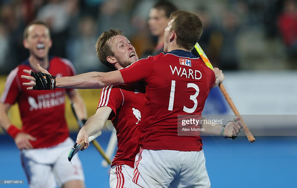 Barry Middleton of Great Britain celebrates scoring their third goal with team mate Sam Ward during the FIH Mens Hero Hockey Champions Trophy match...