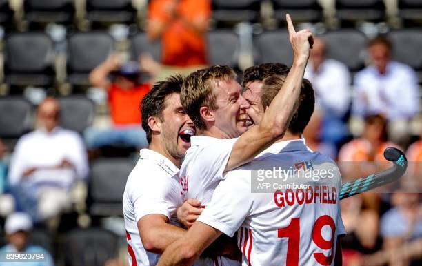 Barry Middleton reacts after scoring 21 during the hockey match between Germany and England at the Rabo EuroHockey Championships 2017 in Amsterdam in...
