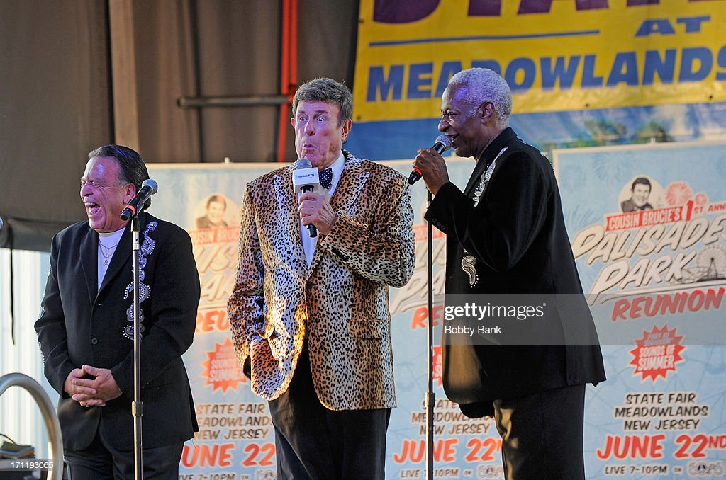 Barry Newman, J.T. Carter of the Crests and Bruce Morrow attend the Cousin Brucie's First Annual Palisades Park Reunion Presented By SiriusXM at State Fair Meadowlands on June 22, 2013 in East Rutherford, New Jersey.
