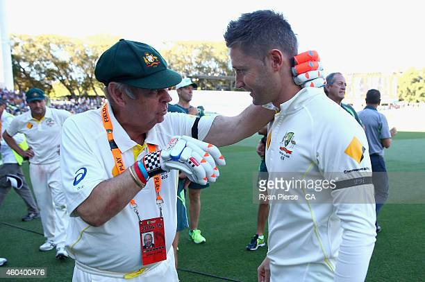 Barry 'Nugget' Rees speaks to Michael Clarke of Australia after day five of the First Test match between Australia and India at Adelaide Oval on...