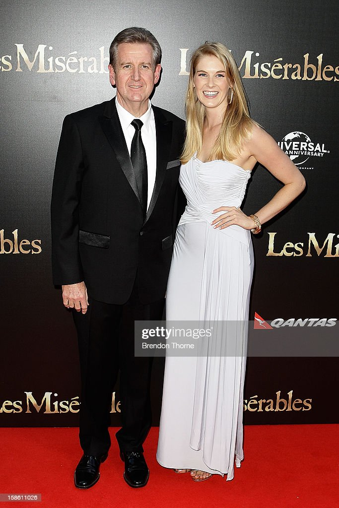 Barry O'Farrell and guest walk the red carpet during the Australian premiere of 'Les Miserables' at the State Theatre on December 21, 2012 in Sydney, Australia.