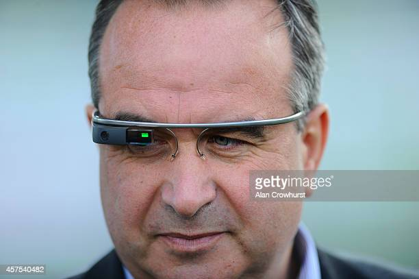 Barry Orr of Betfair wearing Google Glasses at Plumpton racecourse on October 20 2014 in Plumpton England
