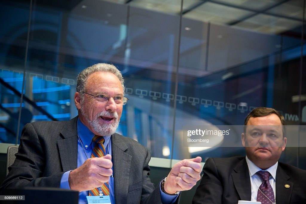 Barry Perry, president and chief executive officer of Fortis Inc., right, listens while <a gi-track='captionPersonalityLinkClicked' href=/galleries/search?phrase=Joseph+Welch+-+Businessman&family=editorial&specificpeople=12847522 ng-click='$event.stopPropagation()'>Joseph Welch</a>, chairman, president and chief executive officer of ITC Holdings Corp., speaks during an interview in New York, U.S., on Thursday, Feb. 11, 2016. Fortis Inc., Canadas largest utility owner, is confident it can find an investor to take a stake in ITC Holdings Corp. as part of its $6.9 billion takeover of the U.S. transmission line operator. Photographer: Michael Nagle/Bloomberg via Getty Images