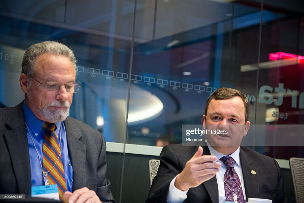 Barry Perry, president and chief executive officer of Fortis Inc., right, speaks during an interview with <a gi-track='captionPersonalityLinkClicked' href=/galleries/search?phrase=Joseph+Welch+-+Businessman&family=editorial&specificpeople=12847522 ng-click='$event.stopPropagation()'>Joseph Welch</a>, chairman, president and chief executive officer of ITC Holdings Corp., in New York, U.S., on Thursday, Feb. 11, 2016. Fortis Inc., Canadas largest utility owner, is confident it can find an investor to take a stake in ITC Holdings Corp. as part of its $6.9 billion takeover of the U.S. transmission line operator. Photographer: Michael Nagle/Bloomberg via Getty Images