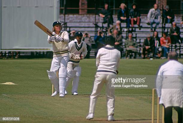 Barry Richards of Hampshire hits Erapalli Prasanna of India for 6 during the tour match between Hampshire and India at the County Ground Southampton...