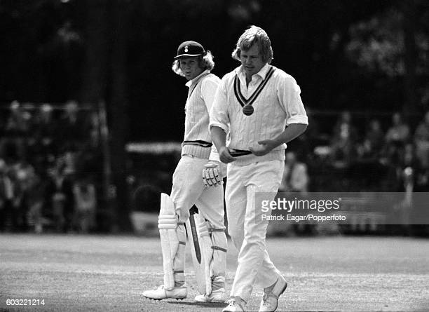 Barry Richards of Hampshire looks back at Mike Procter of Gloucestershire during the County Championship match between Hampshire and Gloucestershire...