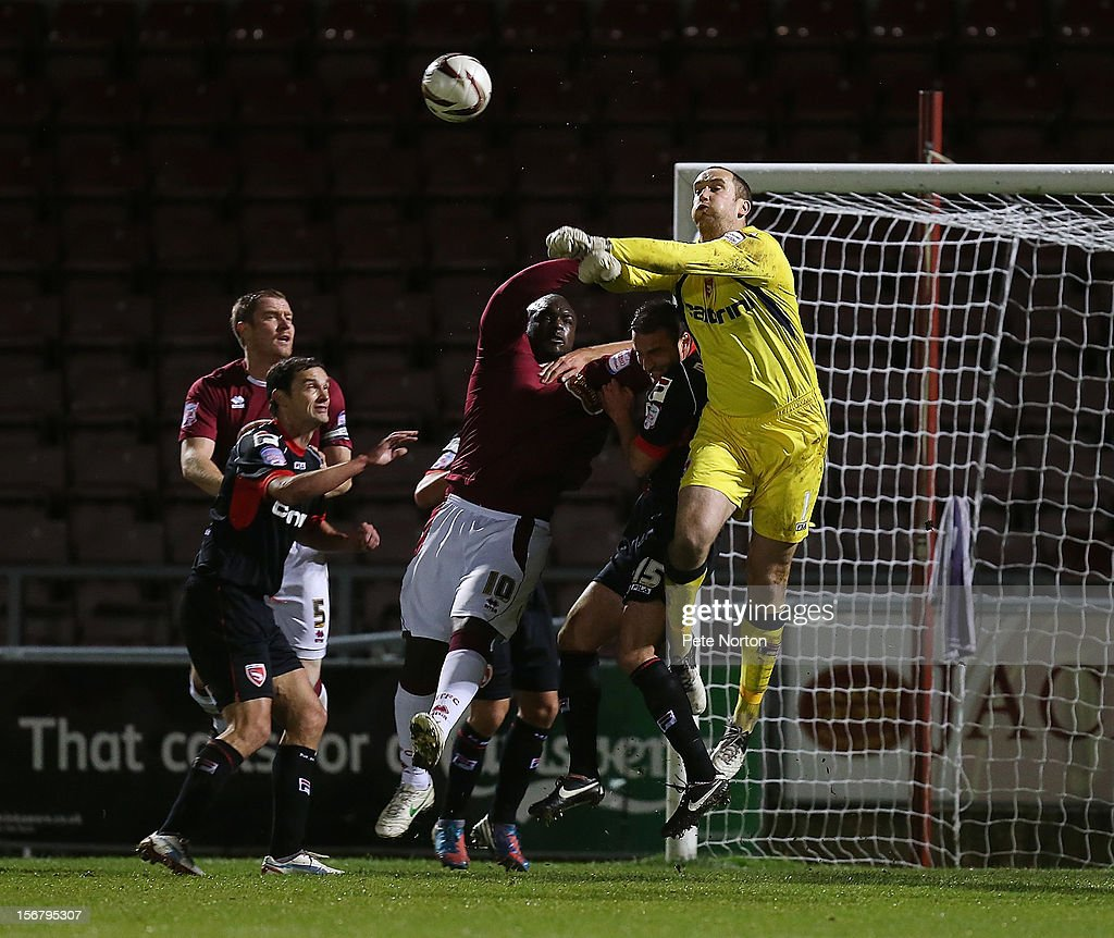 Barry Roche of Morecambe punches the ball clear during the npower League Two match between Northampton Town and Morecambe at Sixfields Stadium on November 20, 2012 in Northampton, England.