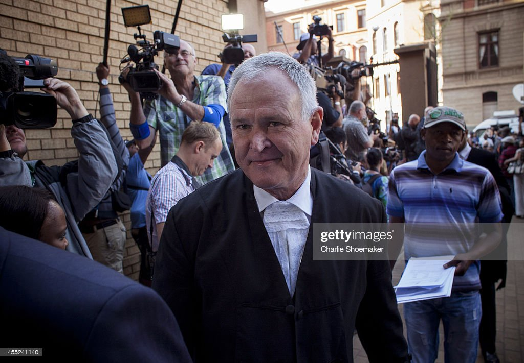 Barry Roux Oscar Pistorius's lawyer arrives at the High Court on September 11 2014 in Pretoria South Africa South African Judge Thokosile Masipa is...