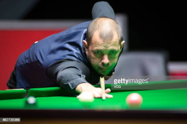 Barry S Hawkins of England plays a shot during his second round match against Chen Zifan of China on day three of 2017 Dafabet English Open at...