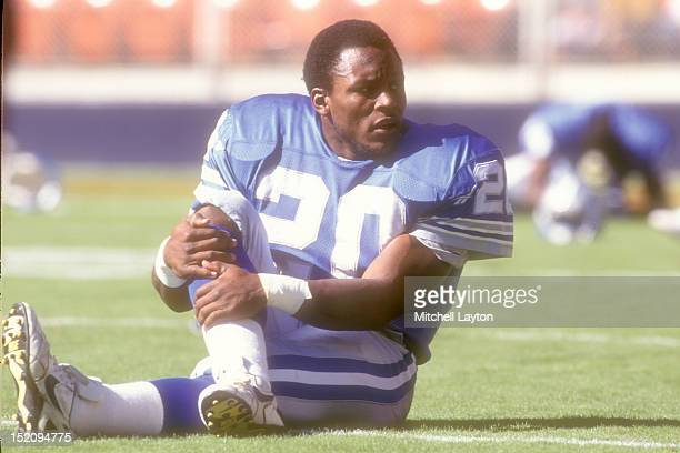 Barry Sanders of the Detroit Lions warms up before a football game against the Washington Redskins on October 22 1995 at RFK Stadium in Washington DC...