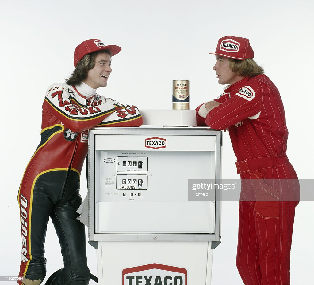 Barry Sheene and James Hunt, (l to r) British World Champion motorcycle racer and Formula 1 World racing driver, 22nd May 1978.