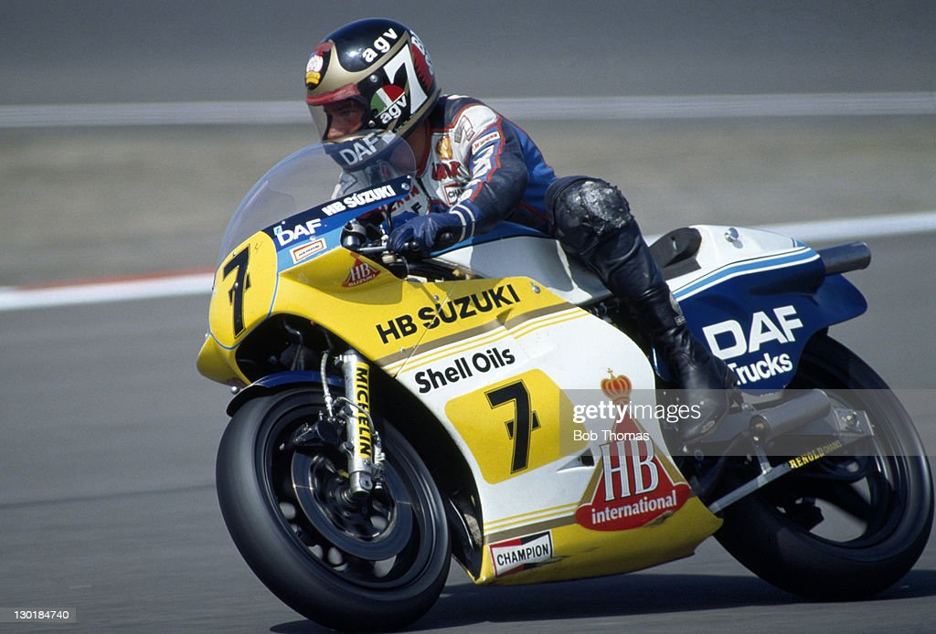 <a gi-track='captionPersonalityLinkClicked' href=/galleries/search?phrase=Barry+Sheene&family=editorial&specificpeople=600476 ng-click='$event.stopPropagation()'>Barry Sheene</a> of Great Britain riding a Suzuki during the British Motorcycle Grand Prix at Silverstone on 31st July 1983.