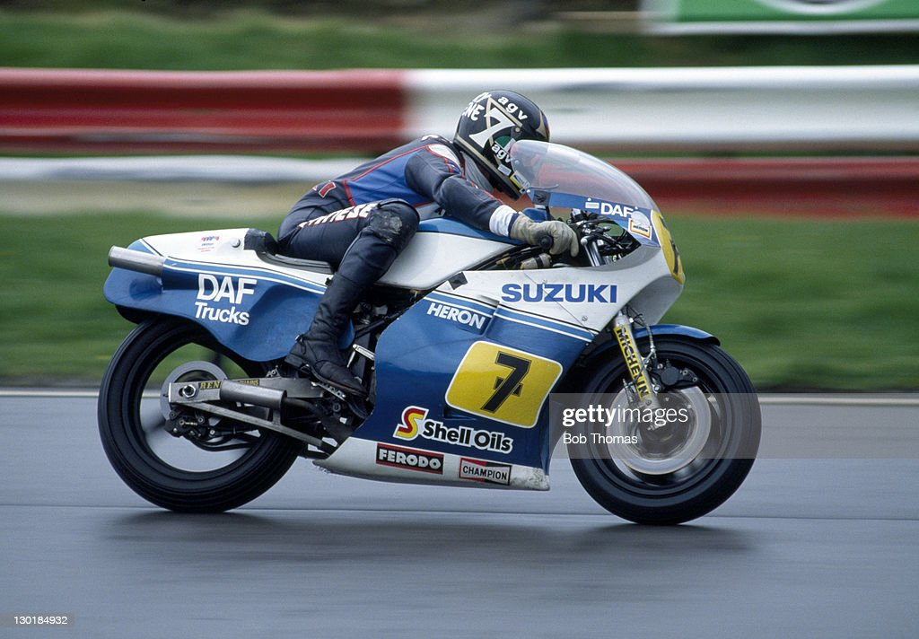<a gi-track='captionPersonalityLinkClicked' href=/galleries/search?phrase=Barry+Sheene&family=editorial&specificpeople=600476 ng-click='$event.stopPropagation()'>Barry Sheene</a> of Great Britain riding a Suzuki RG500 during the Transatlantic Trophy Motorcycle meeting at Brands Hatch on 2nd May 1983.