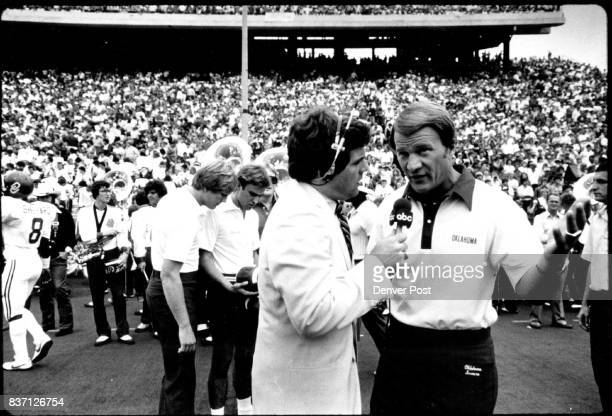 Barry Switzer is interviewed by the man who quarterbacked his national title teams Steve Davis Credit The Denver Post