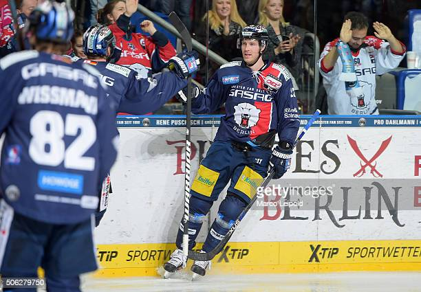 Barry Tallackson of the Eisbaeren Berlin during the DEL game between the Eisbaeren Berlin and Duesseldorfer EG on January 22 2016 in Berlin Germany