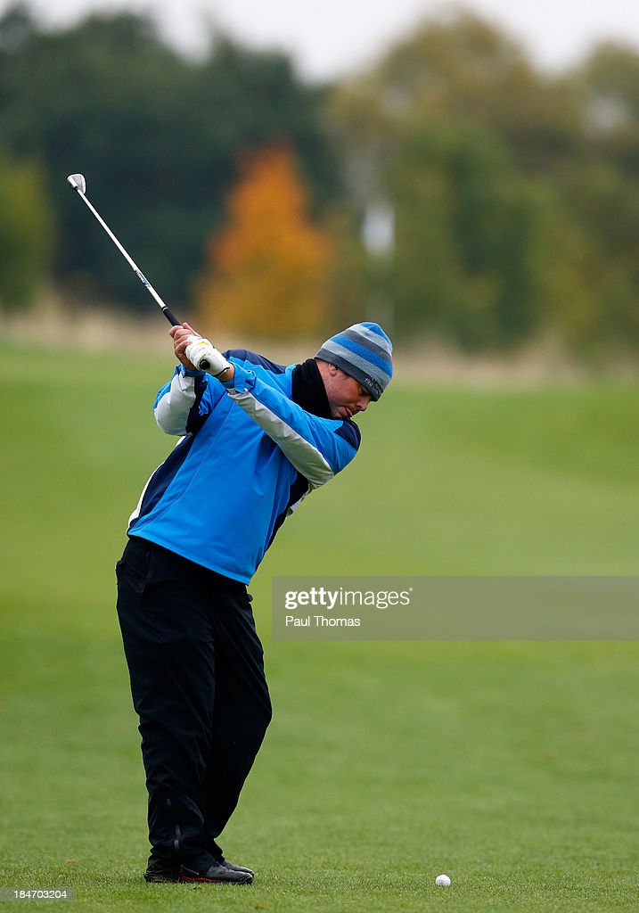 Barry Taylor of Houghwood Golf Club plays a shot during the PGA England & Wales Inter County Championship at the Belfry Golf Course on October 15, 2013 in Sutton Coldfield, England.