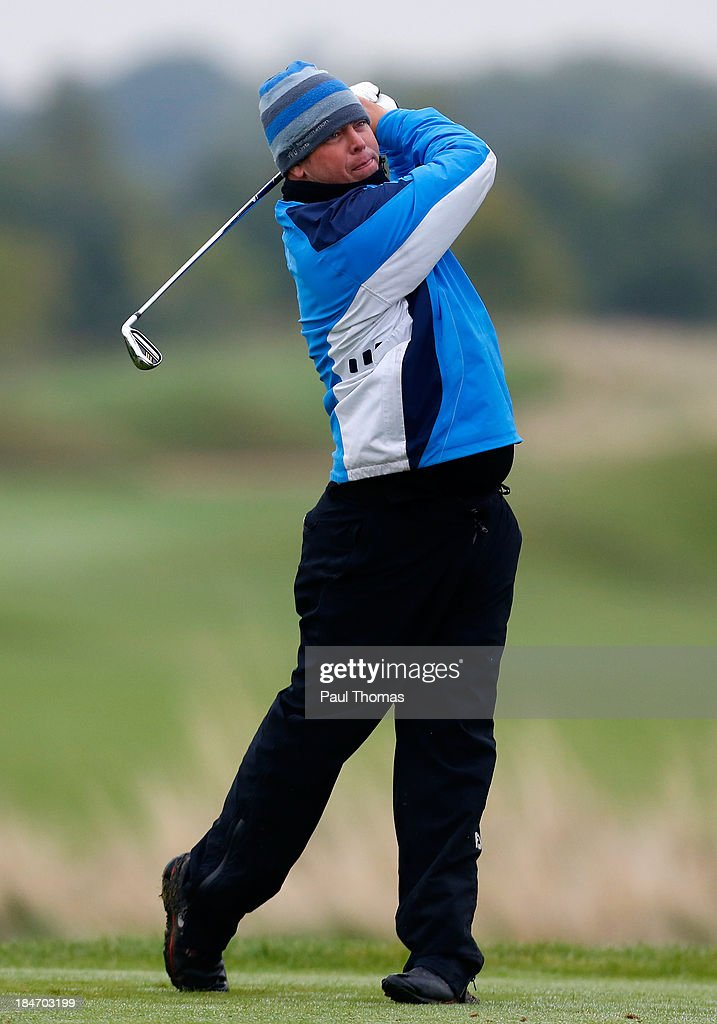 Barry Taylor of Houghwood Golf Club tees off during the PGA England & Wales Inter County Championship at the Belfry Golf Course on October 15, 2013 in Sutton Coldfield, England.