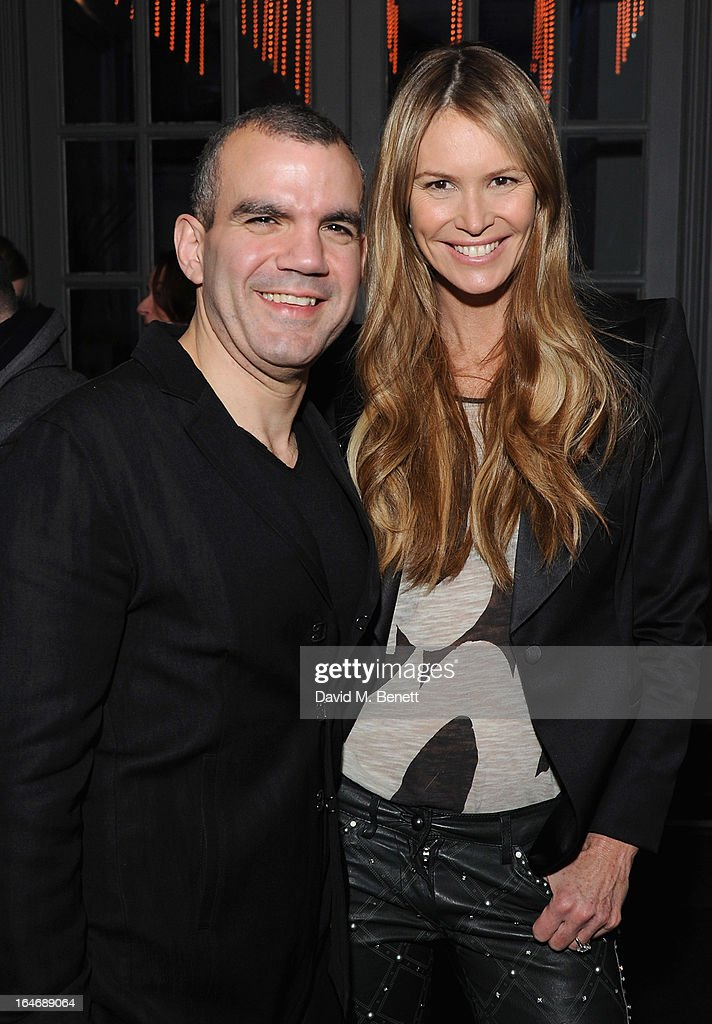 USE. Barry the Dog Jogger and Elle Macpherson attend The Right To Play host a private dinner for Barry the Dog fitness trainer ahead of his husky expedition across the Arctic at 3 Cromwell Road on March 26, 2013 in London, England.