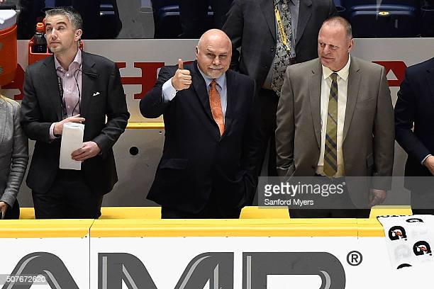 Barry Trotz of the Washington Capitals celebrates after the 2016 Honda NHL AllStar Skill Competition at Bridgestone Arena on January 30 2016 in...
