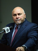 Barry Trotz of the Washington Capitals speaks with the media following a 21 victory against the New York Islanders in Game Seven of the Eastern...