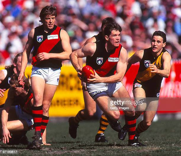 Barry Young of the Bombers runs the ball during the second AFL semi final match between Essendon and Richmond in Melbourne Australia