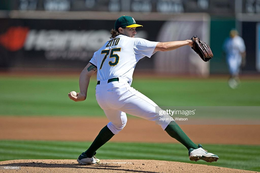 Barry Zito of the Oakland Athletics pitches against the San Francisco Giants during the first inning at Oco Coliseum on September 26 2015 in Oakland...