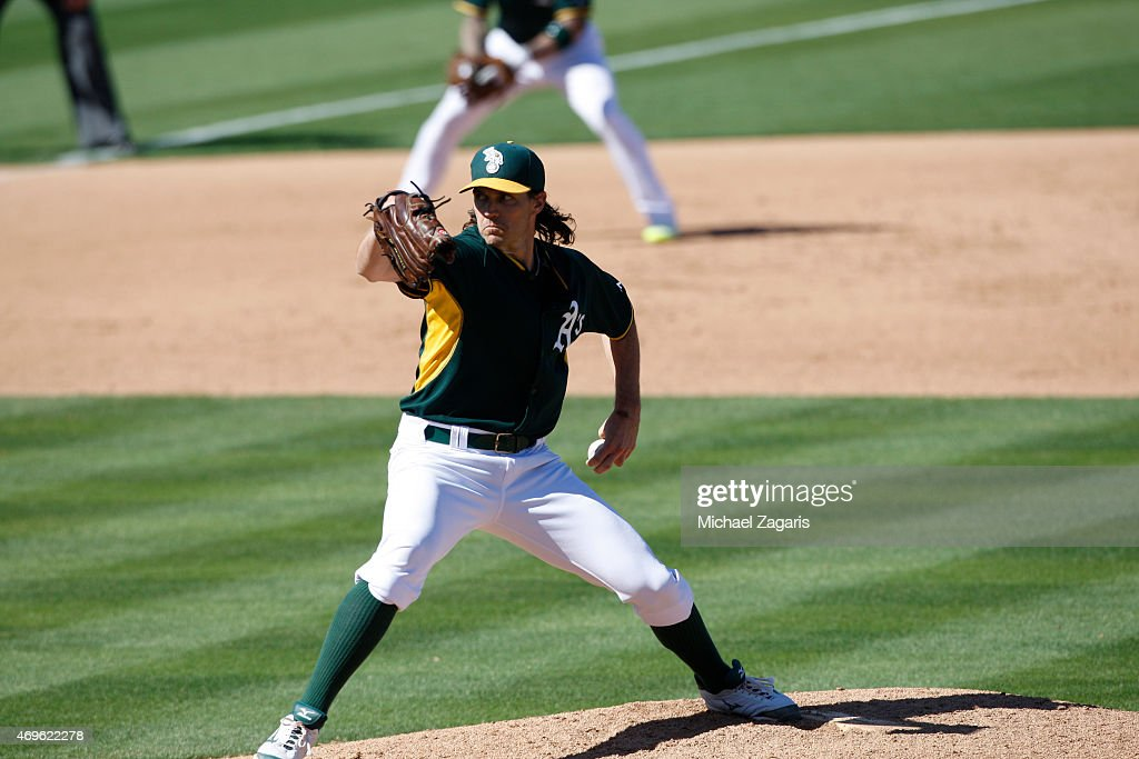 Barry Zito of the Oakland Athletics pitches during the game against the Arizona Diamondbacks at Hohokam Stadium on March 10 2015 in Mesa Arizona