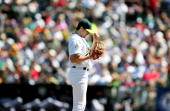 Barry Zito of the Oakland Athletics stands on the mound against the Chicago White Sox at McAfee Coliseum on September 16 2006 in Oakland California