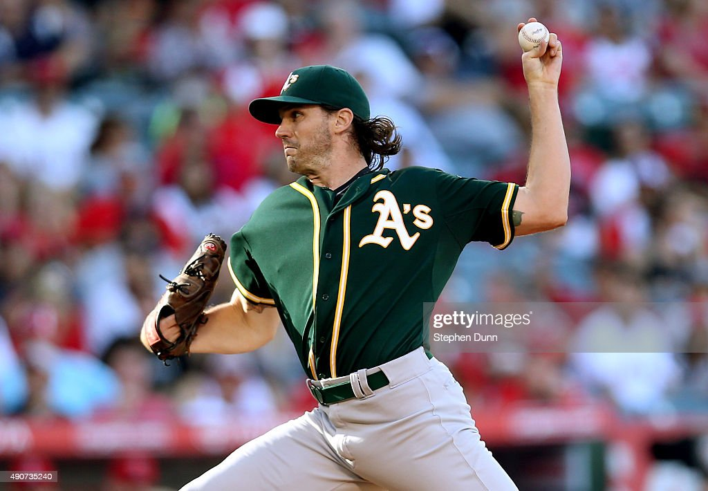 Barry Zito of the Oakland Athletics throws a pitch against the Los Angeles Angels of Anaheim at Angel Stadium of Anaheim on September 30 2015 in...