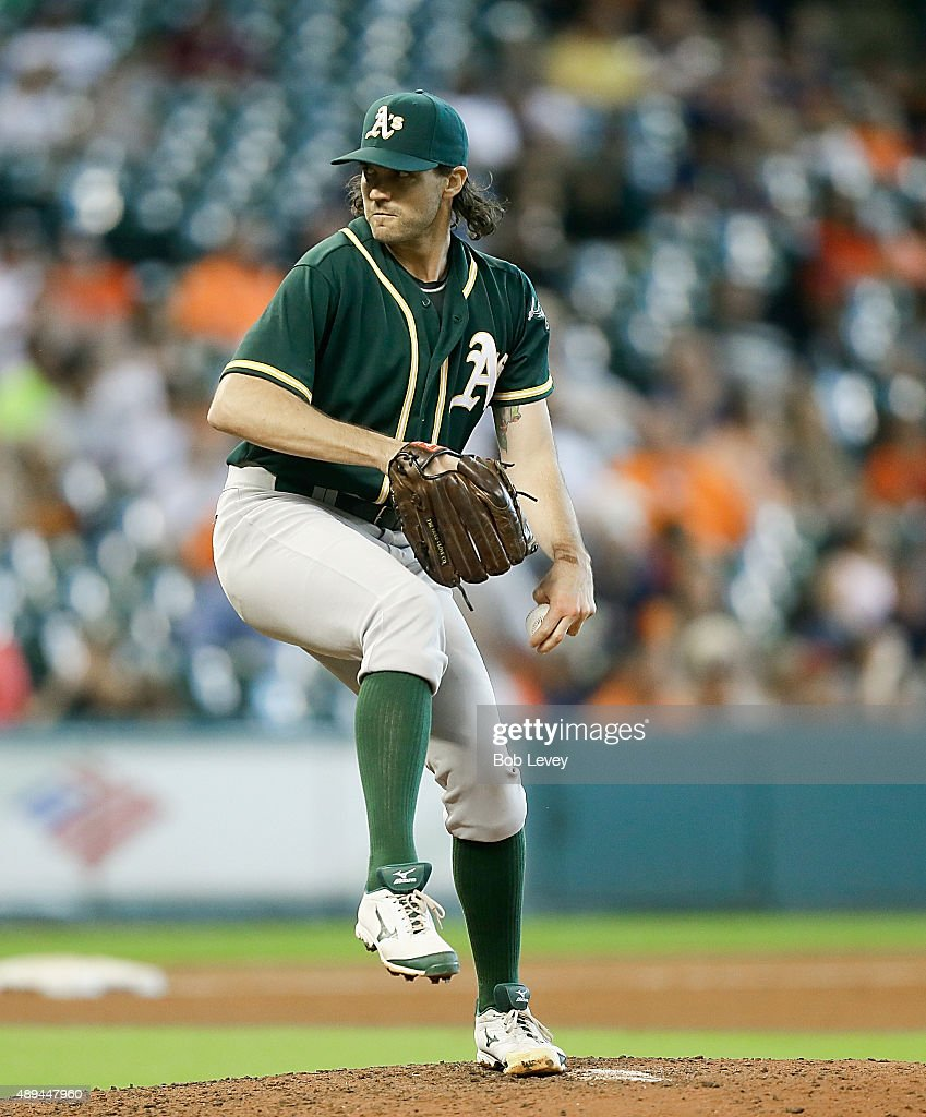 Barry Zito of the Oakland Athletics throws in the eighth inning against the Houston Astros at Minute Maid Park on September 20 2015 in Houston Texas