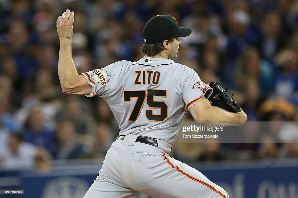 <a gi-track='captionPersonalityLinkClicked' href=/galleries/search?phrase=Barry+Zito&family=editorial&specificpeople=202943 ng-click='$event.stopPropagation()'>Barry Zito</a> #75 of the San Francisco Giants delivers a pitch during MLB game action against the Toronto Blue Jays on May 14, 2013 at Rogers Centre in Toronto, Ontario, Canada.
