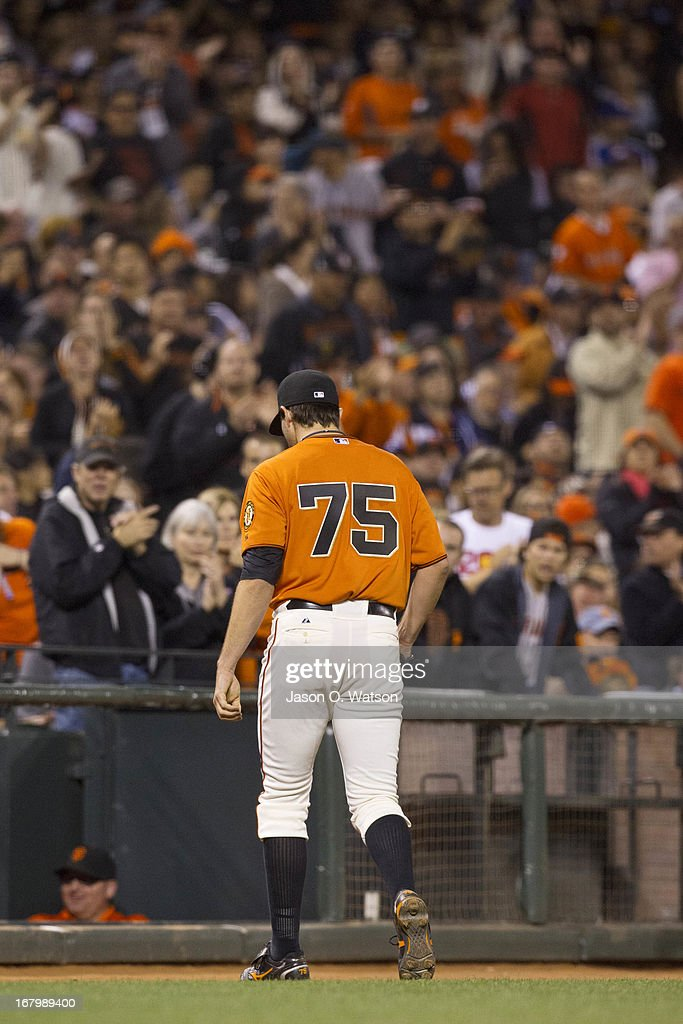 <a gi-track='captionPersonalityLinkClicked' href=/galleries/search?phrase=Barry+Zito&family=editorial&specificpeople=202943 ng-click='$event.stopPropagation()'>Barry Zito</a> #75 of the San Francisco Giants leaves the field after being relieved against the Los Angeles Dodgers during the sixth inning at AT&T Park on May 3, 2013 in San Francisco, California.