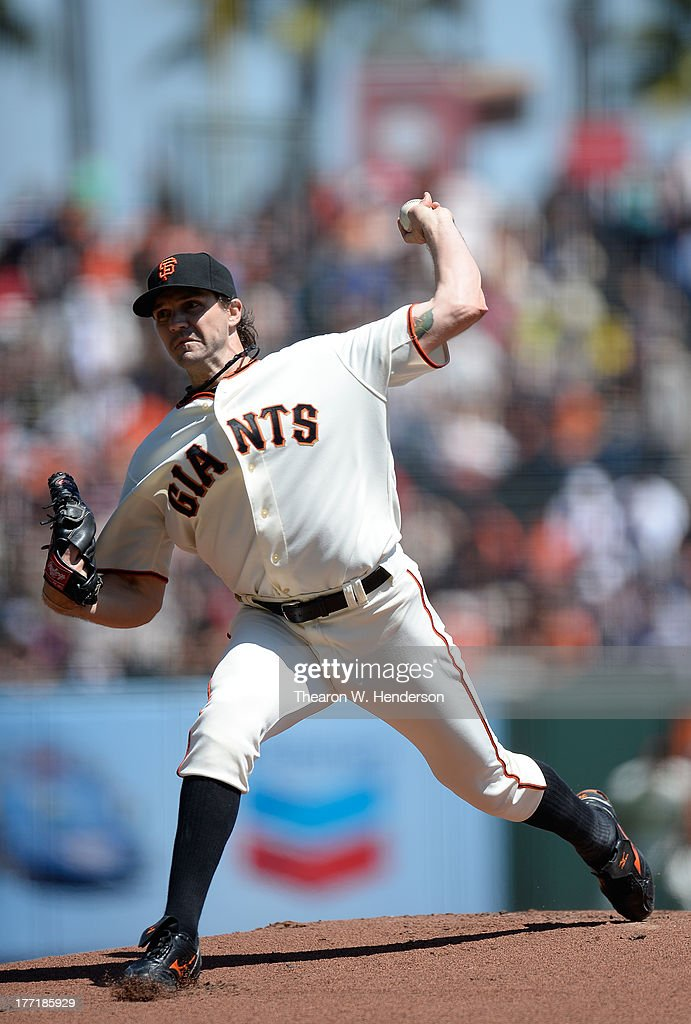 Barry Zito #75 of the San Francisco Giants pitches against the Boston Red Sox at AT&T Park on August 21, 2013 in San Francisco, California.