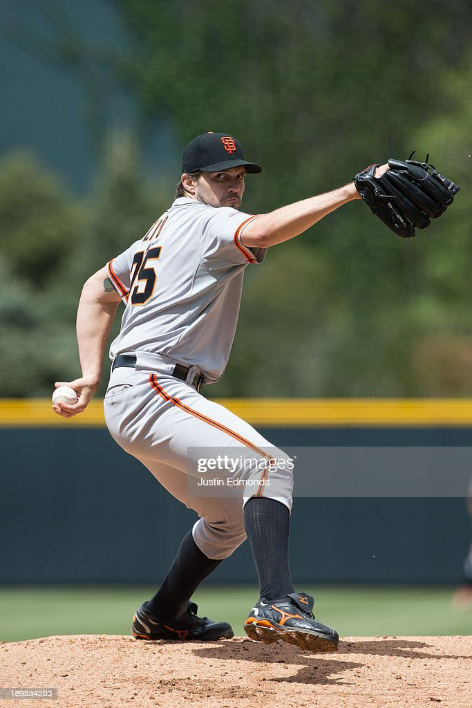 <a gi-track='captionPersonalityLinkClicked' href=/galleries/search?phrase=Barry+Zito&family=editorial&specificpeople=202943 ng-click='$event.stopPropagation()'>Barry Zito</a> #75 of the San Francisco Giants pitches against the Colorado Rockies at Coors Field on May 19, 2013 in Denver, Colorado.