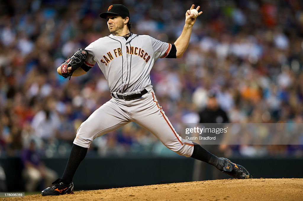 <a gi-track='captionPersonalityLinkClicked' href=/galleries/search?phrase=Barry+Zito&family=editorial&specificpeople=202943 ng-click='$event.stopPropagation()'>Barry Zito</a> #75 of the San Francisco Giants pitches against the Colorado Rockies during a game at Coors Field on August 26, 2013 in Denver, Colorado. The Rockies led 5-0 after six innings.