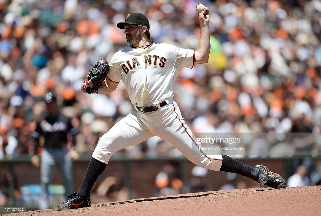 <a gi-track='captionPersonalityLinkClicked' href=/galleries/search?phrase=Barry+Zito&family=editorial&specificpeople=202943 ng-click='$event.stopPropagation()'>Barry Zito</a> #75 of the San Francisco Giants pitches against the the Miami Marlins at AT&T Park on June 22, 2013 in San Francisco, California.