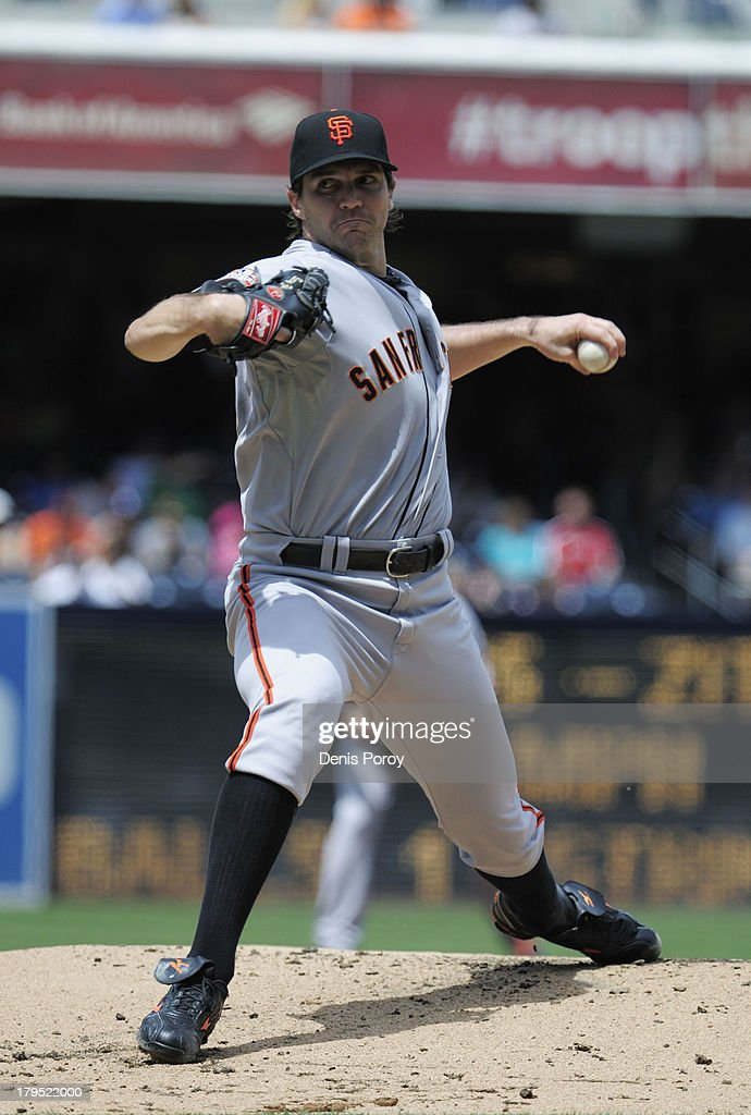 Barry Zito #75 of the San Francisco Giants pitches during a baseball game against the San Diego Padres at Petco Park on September 2, 2013 in San Diego, California.