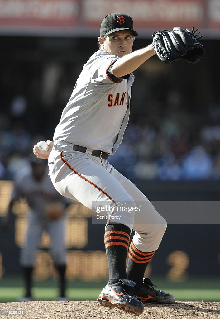 <a gi-track='captionPersonalityLinkClicked' href=/galleries/search?phrase=Barry+Zito&family=editorial&specificpeople=202943 ng-click='$event.stopPropagation()'>Barry Zito</a> #75 of the San Francisco Giants pitches during the first inning of a baseball game against the San Diego Padres at Petco Park on July 16, 2011 in San Diego, California.
