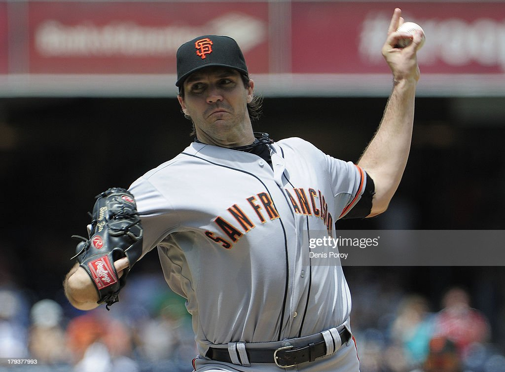 Barry Zito of the San Francisco Giants pitches during the first inning of a baseball game against the San Diego Padres at Petco Park on September 2...
